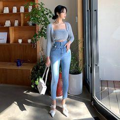 UUZONE - High-Waist Skinny Jeans