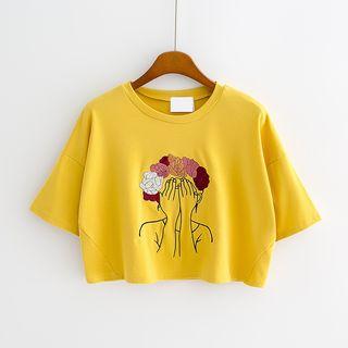 Ukiyo - Short-Sleeve Embroidered Cropped T-Shirt