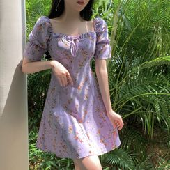 Pandelia - Floral Print Short-Sleeve Mini A-Line Dress
