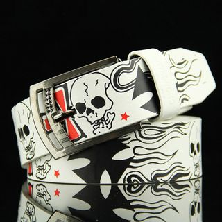dandali - Skull Print Faux Leather Belt