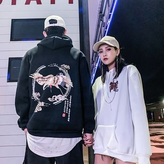 Macho - Couple Matching Crane Print Hoodie