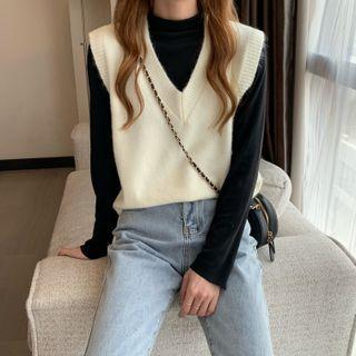 PINPI - Plain Knit Vest / Long-Sleeve Mock Neck Plain T-Shirt
