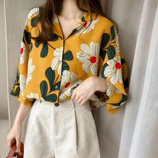 Ilda - Elbow-Sleeve Floral Print Blouse