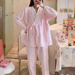 MERE(メア) - Maternity Pajama Set: Long-Sleeve Lace Trim Top + Pants