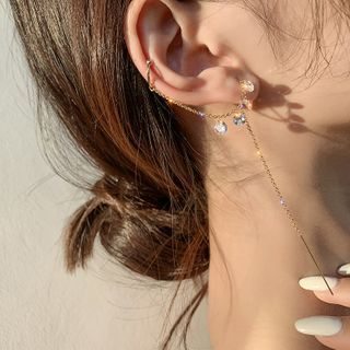 True Glam - 水钻穿线耳饰连耳套
