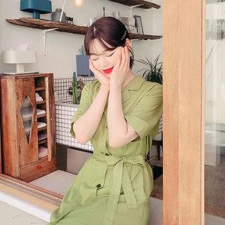 HOTPING - Lapelled Linen Blend Maxi Coatdress