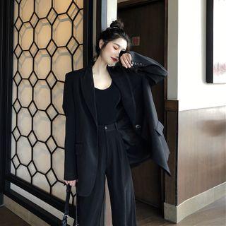 Flowerisque - Single-Breasted Blazer / Wide-Leg Dress Pants