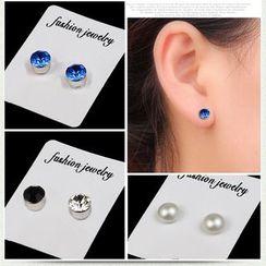 Prushia - Rhinestone Magnetic Stud Earring
