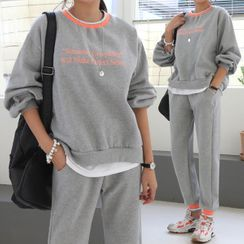 Seoul Fashion - Letter Sweatshirt & Jogger Sweatpants Set