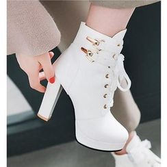 Freesia - Faux Leather Buckled High-heel Ankle Boots