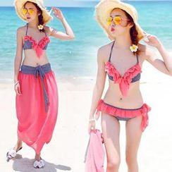 Moonrise Swimwear - Set: Frill-Trim Halter Bikini + Bottom + Cover-Up (3 Pieces)