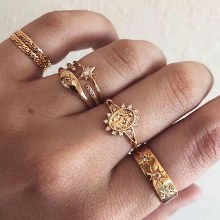 Yeoleum - Set of 7: Alloy Rhinestone Rings