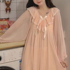 AKANYA - Long-Sleeve Lace Trim Nightgown