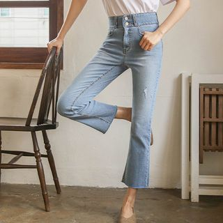 JUSTONE - Ripped Semi Boot-Cut Jeans