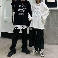 2DAWGS - Couple Matching Printed Oversize Long-Sleeve T-Shirt