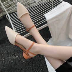 AOE - Pointy Ankle Strap Round Heel Sandals