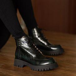 JY Shoes - Genuine Leather Croc Grain Lace-Up Short Boots