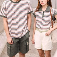 Ichiban Wear  - Couple Matching  Short-Sleeve Striped Top / Shorts