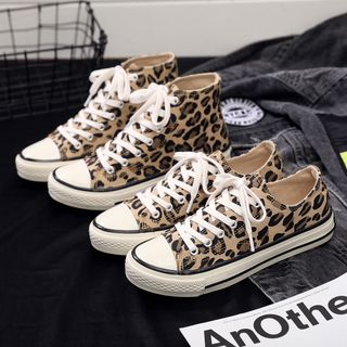Solejoy - Leopard Print Canvas Sneakers