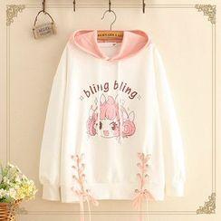 Kawaii Fairyland - Girl Print Lace-Up Detail Hooded Sweater