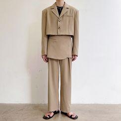 Omozando - Long-Sleeve Plain Cropped Blazer / Plain Dress Pants