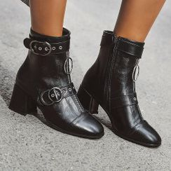 Aegina - Faux Leather Block-Heel Buckled Zip Ankle Boots