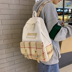 Skyglow - Plaid Panel Buckled Canvas Backpack