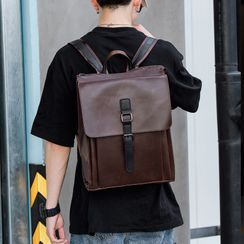 ETONWEAG - Faux Leather Buckled Backpack