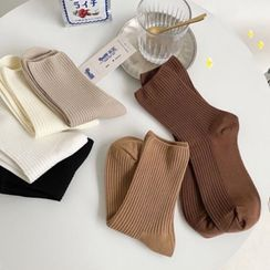 MOGLA - Ribbed Knit Crew Socks