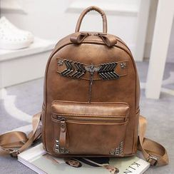 Merlain - Studded Faux-Leather Backpack