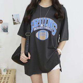 Seoul Fashion - Slit-Hem Printed T-Shirt