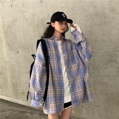 KAKAGA - Long Sleeve Plaid Shirt