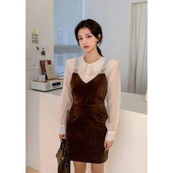 chuu - Napped Mini Pinafore Dress