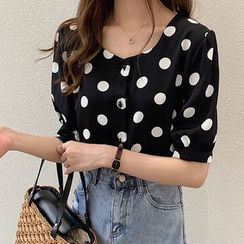 Lomond - Short-Sleeve Dotted Blouse