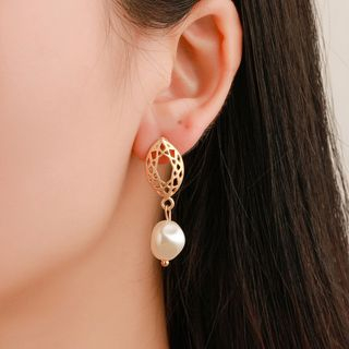 Mulyork - Perforated Alloy Faux Pearl Dangle Earring