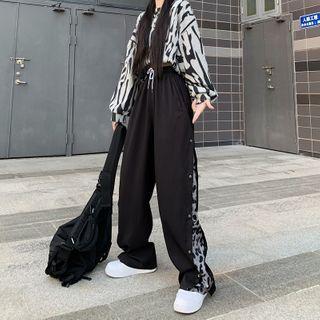 LINSI - 侧钮扣宽腿裤