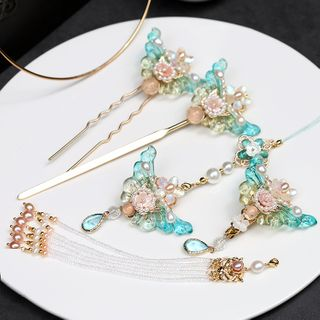 Kanzashi - Retro Faux Crystal Butterfly Hair Stick / Hair Clip