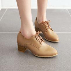 Kireina - Chunky Heel Lace-Up Loafers
