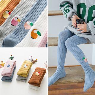 Huasha - Kids Embroidered Knit Tights