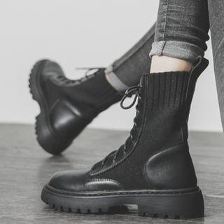 Anran - Lace Up Platform Short Boots