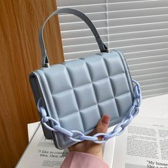 Diamante(ディアマンテ) - Chain Strap Quilted Faux Leather Handbag