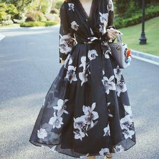 Furuto - Cropped Sleeve Floral Wrap Midi Dress