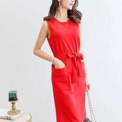 Bornite - 无袖腰结带连衣裙