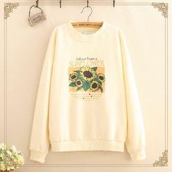 Kawaii Fairyland - Sun-Flower Print Round-Neck Sweatshirt