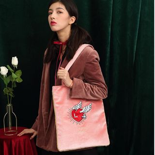 Nibby - Heart Embroidered Tote Bag