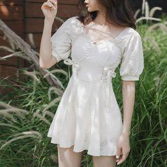 Honolulu - Puff-Sleeve Lace-Up Swim Dress