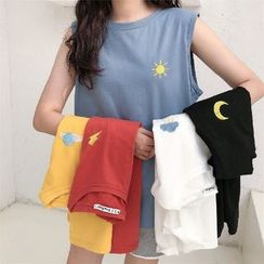 Sienne - Embroidered Sleeveless T-Shirt