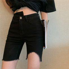 Magimomo - High-Waist Distressed Asymmetric Denim Shorts