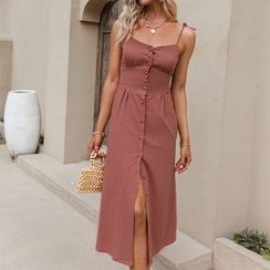 Simplee - Spaghetti Strap Buttoned A-Line Dress