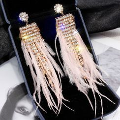Catalunya - Feather Rhinestone Fringed Earring